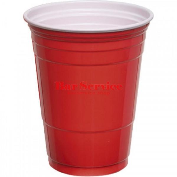 Стакан пластиковый 400мл 50 шт. красно-белый