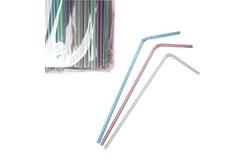 Трубочки со сгибом  24 см, d=0,5см, 1000 шт в уп, флюорисц.