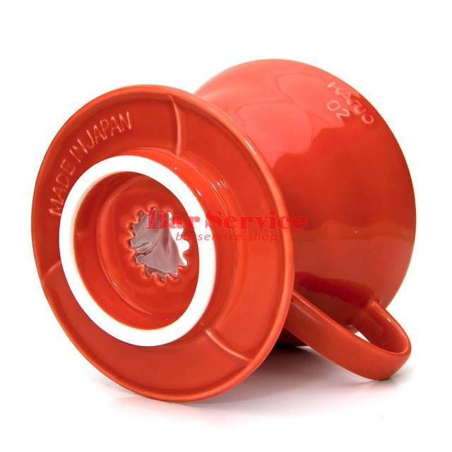 Hario VDC-02R. Воронка керамическая красная. 1-4 чашки